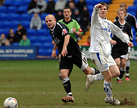 Photo: Paul Greenwood.<br />Tranmere Rovers v Swansea City. Coca Cola League 1. 10/03/2007.<br />Tranmere's And Robinson, (L) wins the ball off Tranmere's Shane Sherriff