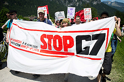 06.06.2015, Garmisch Partenkirchen, GER, G7 Gipfeltreffen auf Schloss Elmau, Circa 5000 Menschen demonstrieren in Garmisch-Patenkirchen gegen den G7-Gipfel im benachbarten Elmau, im Bild Das Fronttrasparent der Demonstration // uring Protest of the G7 opponents prior to the scheduled G7 summit which will be held from 7th to 8th June 2015 in Schloss Elmau near Garmisch Partenkirchen, Germany on 2015/06/06. EXPA Pictures © 2015, PhotoCredit: EXPA/ Eibner-Pressefoto/ Gehrling<br /> <br /> *****ATTENTION - OUT of GER*****