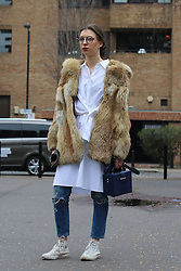 Fashionista arrives at the Fashion East Autumn / Winter 2017 London Fashion Week show at Tate Modern, London on Saturday February 18, 2017