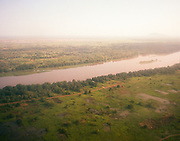 JUBA, SOUTH SUDAN – JUNE 1, 2018: An aerial view of the White Nile near Juba, the capital city of Jubek state, in the Republic of South Sudan.