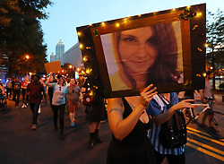 August 13, 2017 - Atlanta, Georgia, U.S. - Hundreds of protesters march from Woodruff Park to Piedmont park during a anti white nationalism memorial and march in response to violence in Virginia on Sunday. (Credit Image: © Curtis Compton/TNS via ZUMA Wire)