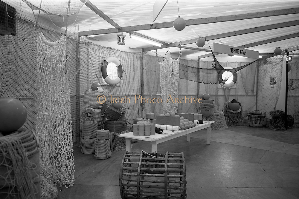 07/05/1965<br /> 05/07/1965<br /> 07 May 1965<br /> Interiors and exteriors of B.I.M. Pavilion at the RDS Spring Show at the Royal Dublin Society, Ballsbridge, Dublin. Image shows a stand displaying various nets, traps, ropes and other fishing equipment.