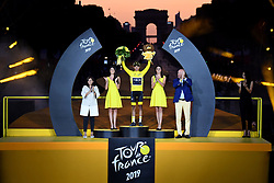 July 28, 2019, Paris, France: Colombian Egan Bernal of Team Ineos celebrates on the podium in the yellow jersey of leader in the overall ranking after the final stage of the 106th edition of the Tour de France cycling race, from Rambouillet to Paris Champs-Elysees (128km), France, Sunday 28 July 2019. This year's Tour de France starts in Brussels and takes place from July 6th to July 28th. (Credit Image: © Pool/Belga via ZUMA Press)