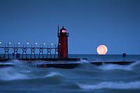 The full moon melts into Lake Michigan