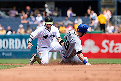 May 28, 2018 - Pittsburgh, PA, U.S. - PITTSBURGH, PA - MAY 28:  Pittsburgh Pirates first baseman Sean Rodriguez (3) makes the tag on Chicago Cubs left fielder Ben Zobrist (18) at second base during an MLB game between the Pittsburgh Pirates and Chicago Cubs on May 28, 2018 at PNC Park in Pittsburgh, PA. (Photo by Shelley Lipton/Icon Sportswire) (Credit Image: © Shelley Lipton/Icon SMI via ZUMA Press)
