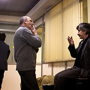 Vitaly Yaroshevsky (left), deputy chief editor, talks to Nugzar .Mikeladze (right), information Service editor, at the editorial office of the Novaya Gazeta newspaper in Moscow. .Novaya Gazeta, known for its critical stance, counted among its journalists Anna Politkovskaya, shot dead in her apartment block in October 2006..Politkovskaya was one of the strongest voices against the Kremlin and its policy in Chechnya. Two other journalist at Novaya Gazeta were murdered before her.