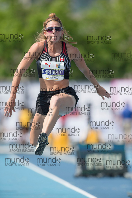 Toronto, ON -- 12 August 2018: Caroline Ehrhardt (Canada), triple jump at the 2018 North America, Central America, and Caribbean Athletics Association (NACAC) Track and Field Championships held at Varsity Stadium, Toronto, Canada. (Photo by Sean Burges / Mundo Sport Images).