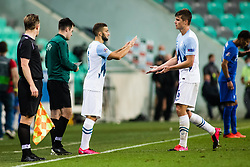 Nino Kouter of Slovenia and Jaka Bijol of Slovenia during football match between National Teams of Slovenia and Greece in UEFA Nations League 2020, on September 3, 2020 in SRC Stozice, Ljubljana, Slovenia. Photo by Grega Valancic / Sportida