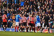 Portsmouth and Sunderland players close during the EFL Sky Bet League 1 match between Portsmouth and Sunderland at Fratton Park, Portsmouth, England on 22 December 2018.