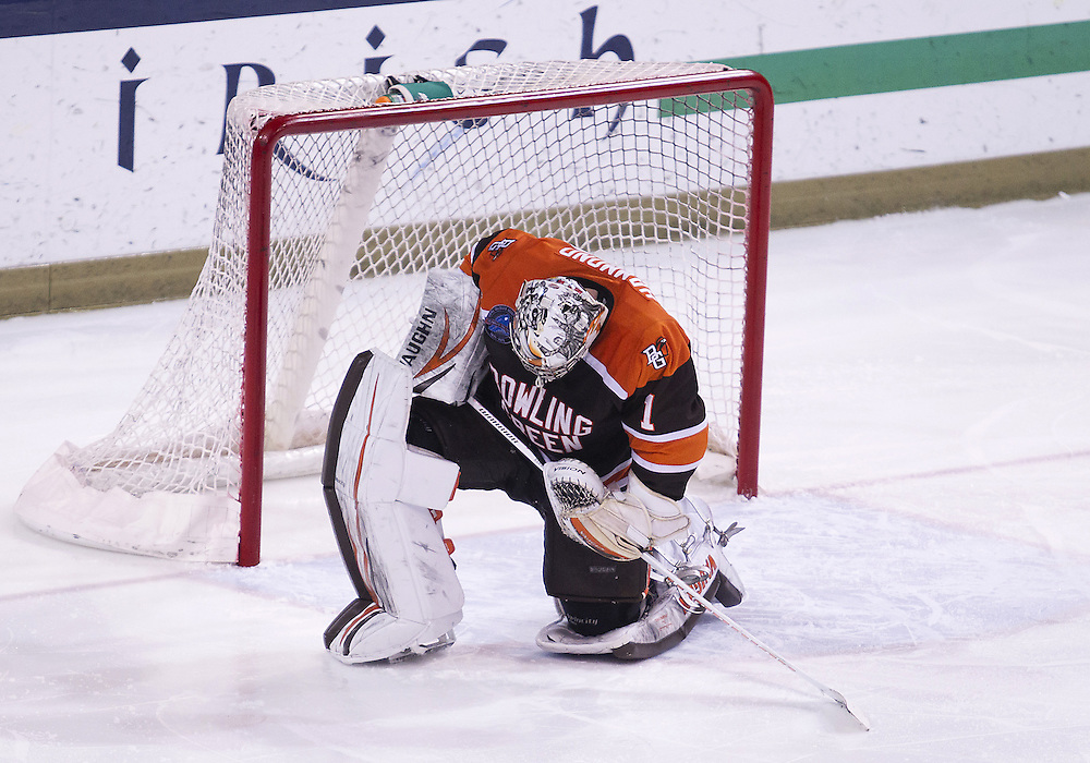 March 15, 2013:  Bowling Green goaltender Andrew Hammond (1) is dejected after NCAA Hockey game action between the Notre Dame Fighting Irish and the Bowling Green Falcons at Compton Family Ice Arena in South Bend, Indiana.  Notre Dame defeated Bowling Green 1-0 in overtime.