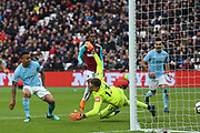Manchester City forward Gabriel Jesus (33) scores a goal during the Premier League match between West Ham United and Manchester City at the London Stadium, London, England on 29 April 2018. Picture by Toyin Oshodi.