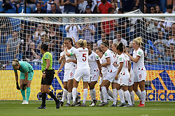 June 27, 2019 - Le Havre, France - Jill Scott (Manchester City WFC) of England celebrates after scoring her sides first goal during the 2019 FIFA Women's World Cup France Quarter Final match between Norway and England at  on June 27, 2019 in Le Havre, France. (Credit Image: © Jose Breton/NurPhoto via ZUMA Press)