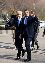"File photo dated December 2, 2010 of President Barack Obama and Vice President Joe Biden cross Pennsylvania Avenue to attend a meeting with newly elected governors at the Blair House in Washington, DC. Former President Barack Obama endorsed Joe Biden, his two-term vice president, on Tuesday morning in the race for the White House. ""Choosing Joe to be my vice president was one of the best decisions I ever made, and he became a close friend. And I believe Joe has all the qualities we need in a president right now,"" Obama said in a video posted to Twitter. Photo by Olivier Douliery /ABACAPRESS.COM"