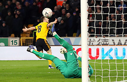 Wolverhampton Wanderers' Diogo Jota scores his side's second goal of the game during the FA Cup quarter final match at Molineux, Wolverhampton.