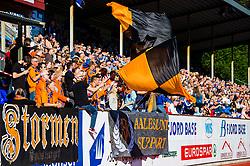 August 12, 2018 - FlorÃ, NORWAY - 180812 Aalesund supporters during the OBOS-ligaen match between Florø and Aalesund on August 12, 2018 in Florà (Credit Image: © Marius Simensen/Bildbyran via ZUMA Press)
