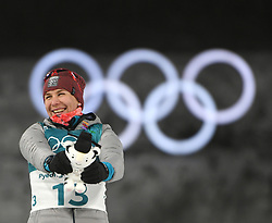 PYEONGCHANG, Feb. 12, 2018  Slovakia's Anastasiya Kuzmina clebrates during the venue ceremony of women's 10km pursuit event of biathlon at the 2018 PyeongChang Winter Olympic Games at Alpensia Biathlon Centre in PyeongChang, South Korea, on Feb. 12, 2018. Kuzmina claimed the silver medal in a time of 31:04.7. (Credit Image: © Wang Haofei/Xinhua via ZUMA Wire)