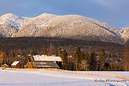 Old wooden barn in days last light in Whitefish, Montana, USA