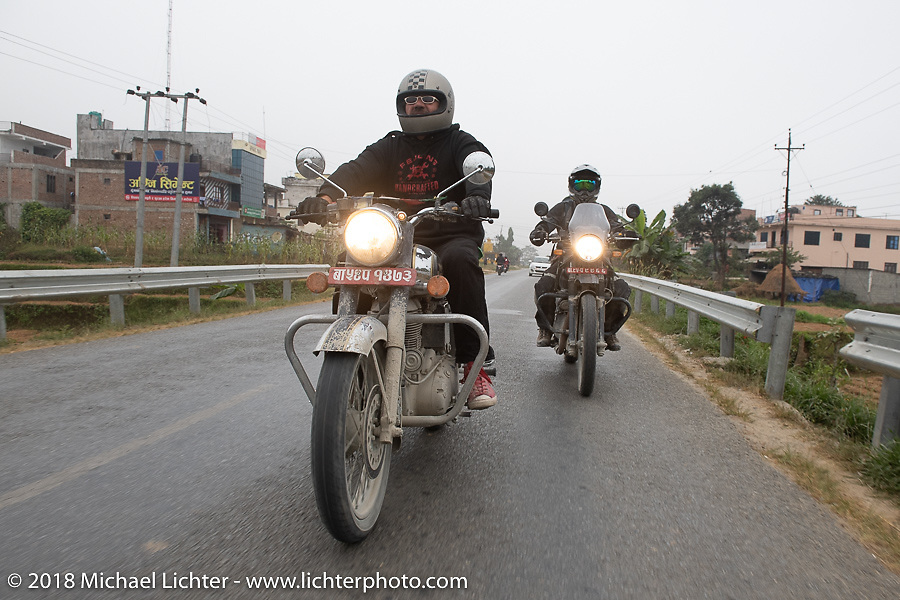 Beanre (Kevin Doebler) (L) and Sean Lichter on day-9 of our Himalayan Heroes adventure riding from Pokhara to Nuwakot, Nepal. Wednesday, November 14, 2018. Photography ©2018 Michael Lichter.
