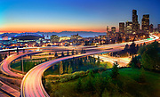 Freeways leading to downtown Seattle at sunset