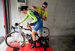 Eugenia Bujak of Slovenia and her husband Milosz Bujak during Women Time Trial at UCI Road World Championship 2020, on September 24, 2020 in Imola, Italy. Photo by Vid Ponikvar / Sportida