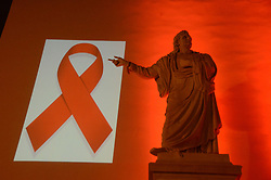 November 30, 2016 - Athens, Greece - The University of Athens lights in red as part of the 3 day awareness events on HIV/AIDS for the World Aids Day. (Credit Image: © George Panagakis/Pacific Press via ZUMA Wire)