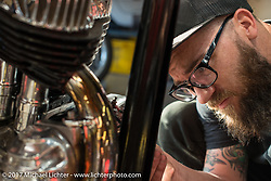 Andy Carter doing some last minute details on his 1943 Harley-Davidson UL Flathead named Future Man at Jeff Leighton and Dave Polgreen's The Wretched Hive shop just before the start of the Born Free 9 Motorcycle Show. Santa Ana, CA. USA. Wednesday June 21, 2017. Photography ©2017 Michael Lichter.