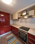 Red modern kitchen with new appliances. Nobody inside