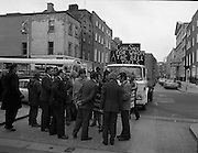 Cork Shoe Workers Protest.     K15..1976..24.03.1976..03.24.1976..24th March 1976..In protest at the winding up of the Cork shoe industry, 10 workers  from the Cork Shoe Co marched from Cork to Dublin to meet with TDs at Leinster House. The protest was to highlight the closure of The Cork shoe Co resulting in the unemployment of all the staff..Pictured TDs Pearse Wyse, Tom Meaney, Gene Fitzgerald and Sean French meeting with the protesting workers at the Dail, Leinster House, Dublin.