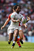 England's Marland Yarde collects a kick through during the The Old Mutual Wealth Cup match England -V- Wales at Twickenham Stadium, London, Greater London, England on Sunday, May 29, 2016. (Steve Flynn/Image of Sport)