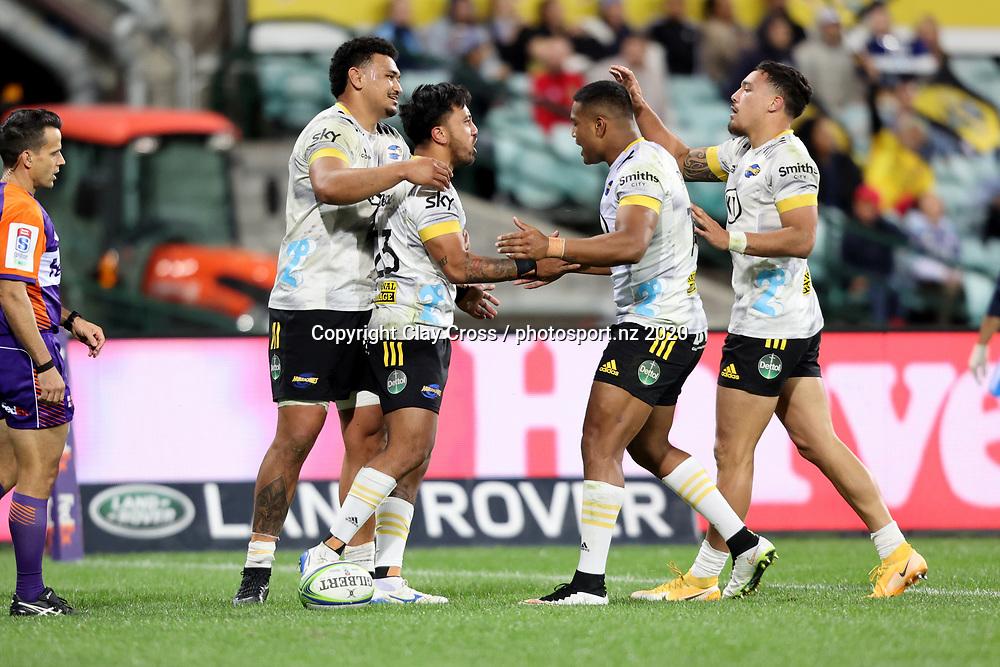 Hurricanes celebrates the Pepesana Patafilo try. Waratahs v Hurricanes. 2021 Super Rugby Trans Tasman Round 1 Match. Played at Sydney Cricket Ground on Friday 14 May 2021. Photo Clay Cross / photosport.nz