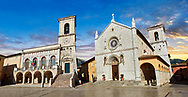 Town Hall, the church of St. Benedict, before the 2106 earthquake, and the birthplace of St. Benedict, Piazza San Benedetto, Norcia, Umbria, Italy .<br /> <br /> Visit our ITALY HISTORIC PLACES PHOTO COLLECTION for more   photos of Italy to download or buy as prints https://funkystock.photoshelter.com/gallery-collection/2b-Pictures-Images-of-Italy-Photos-of-Italian-Historic-Landmark-Sites/C0000qxA2zGFjd_k<br /> .<br /> <br /> Visit our MEDIEVAL PHOTO COLLECTIONS for more   photos  to download or buy as prints https://funkystock.photoshelter.com/gallery-collection/Medieval-Middle-Ages-Historic-Places-Arcaeological-Sites-Pictures-Images-of/C0000B5ZA54_WD0s