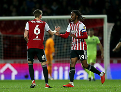 Brentford's Romaine Sawyers celebrates scoring his side's second goal of the game
