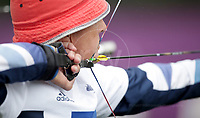 Paralympics London 2012 - ParalympicsGB - Archery Mens Individual Compound - W1  30th August 2012<br />   <br /> John Cavangh, competing in the mens Archery Individual Compound W1 heats at the Paralympic Games in London. Photo: Richard Washbrooke/ParalympicsGB