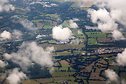 A patchwork of fields seen from the air near Gatwick airport, London, England, UK