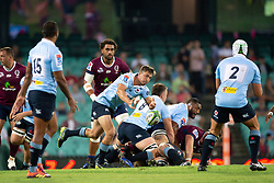 March 9, 2019 - Sydney, NSW, U.S. - SYDNEY, NSW - MARCH 09: Waratahs player Jake Gordon (9) passes the ball at round 4 of Super Rugby between NSW Waratahs and Queensland Reds on March 09, 2019 at The Sydney Cricket Ground, NSW. (Photo by Speed Media/Icon Sportswire) (Credit Image: © Speed Media/Icon SMI via ZUMA Press)