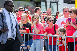Oct 2, 2021; Morgantown, West Virginia, USA; Texas Tech Red Raiders fans greet Texas Tech Red Raiders players as they walk into the stadium prior to their game against the West Virginia Mountaineers at Mountaineer Field at Milan Puskar Stadium. Mandatory Credit: Ben Queen-USA TODAY Sports
