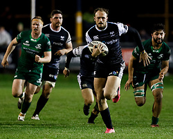 Cory Allen of Ospreys breaks to setup his sides fourth try<br /> <br /> Photographer Simon King/Replay Images<br /> <br /> Guinness PRO14 Round 7 - Ospreys v Connacht - Friday 26th October 2018 - The Brewery Field - Bridgend<br /> <br /> World Copyright © Replay Images . All rights reserved. info@replayimages.co.uk - http://replayimages.co.uk