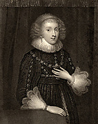 Mary Herbert,  Countess of Pembroke (born Mary Sidney - 1561-1621) English noblewoman, sister of the poet Philip Sidney and dedicatee of his 'Arcadia'. Engraving.