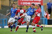 Photo: Pete Lorence.<br />Chesterfield Town v Wycombe Wanderers. Coca Cola League 2. 01/09/2007.<br />Aaron Downes clears the ball.
