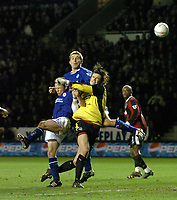 LEICESTER CITY/MANCHESTER CITY FA CUP 3RD ROUND REPLAY 14/01/04 PHOTO TIM PARKER FOTOSPORTS INTL MANCHESTER CITY KEEPER KEVIN STUHR-ELLEGAARD DENIES LEICESTER JAMES SCOWCROFT & POAUL DICKOV