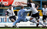 Photo: Paul Thomas.<br /> Preston North End v Manchester City. The FA Cup. 18/02/2007.<br /> <br /> David Nugent of Preston looks to pass.