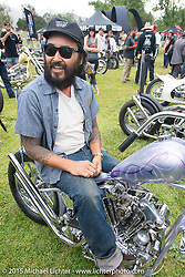 Invited builder Kosuke Saito with his custom 1936 Harley-Davidson Knucklehead (that Bill Buckingham rode in the 2014 Motorcycle Cannonball) on Day one of the Born Free Vintage Chopper and Classic Motorcycle Show at the Oak Canyon Ranch in Silverado, CA. USA. Saturday, June 28, 2014.  Photography ©2014 Michael Lichter.