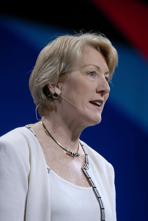 Austin, Texas May 4, 2006:  Chairman of the Board and CEO Anne Mulcahy of Xerox delivers her keynote speech Thursday to the World Congress of Information Technology (WCIT) high-tech gathering in Austin. Mulcahy highlighted her company's push toward improved document management for the 21st century. <br /> ©Bob Daemmrich