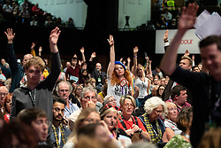 © Licensed to London News Pictures . 23/09/2019. Brighton, UK. A delegate wearing an EU beret raises her hand during the floor debates on motions on Labour's position on Brexit , during the third day of the 2019 Labour Party Conference at the Brighton Centre . Photo credit: Joel Goodman/LNP
