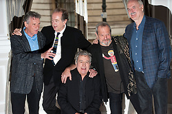 ©  London News Pictures. 21/11/2013.  L to R Michael Palin, Eric Idle, Terry Jones, Terry Gilliam and John Cleese. Members of Monty Python hold a press conference in London to announce that they will be reforming a live, one-off show in London next July. Photo credit : Ben Cawthra/LNP