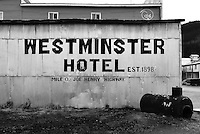 The tin-covered side of the Westminster Hotel