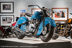 Kiwi Mike Tomas' custom Vindian 1200 cc Vincent in a 1948 Indian Chief frame in the More Mettle - Motorcycles and Art That Never Quit exhibition in the Buffalo Chip Events Center Gallery during the Sturgis Motorcycle Rally. SD, USA. Monday, August 9, 2021. Photography ©2021 Michael Lichter.