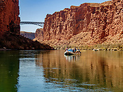 Highway 89A crosses the Colorado River here at River Mile 4.5 (measured downstream of Lees Ferry) in Grand Canyon National Park, Arizona, USA. The original Navajo Bridge was built in 1929. The new bridge was completed in 1995.