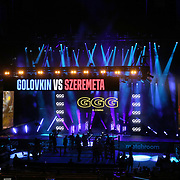 A general view of the ring prior to the Gennady Golovkin versus Kamil Szeremeta world title fight at the Seminole Hard Rock Hotel and Casino in Hollywood, Florida USA on 18, Dec 2020. Photo: Alex Menendez