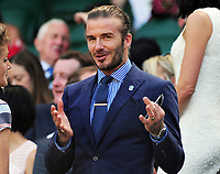 Tennis - 2017 Wimbledon Championships - Week One, Friday [Day Five]<br /> <br /> Womens Singles Third Round match<br /> Heather Watson (GBR) v Victoria Azarenka (BLR) <br /> <br /> Ex England Footballer, David Beckham in the Royal box on Centre court <br /> <br /> COLORSPORT/ANDREW COWIE